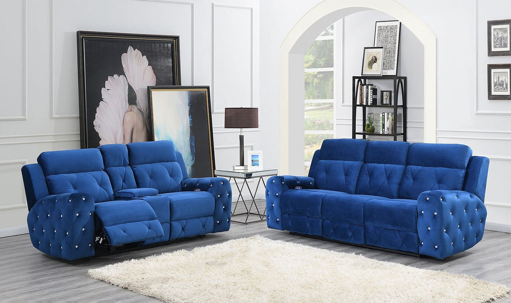 Blue Velvet Recliner Sofa & Loveseat