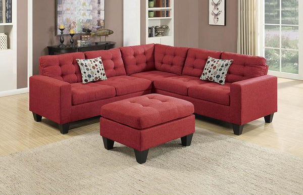 Carmine Fabric 4PC Sectional + Ottoman
