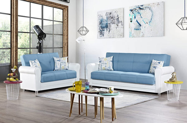 Avalon Plus Blue Sofa & Loveseat