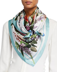 """Libby"" Large Square Silk Double-Sided Scarf"