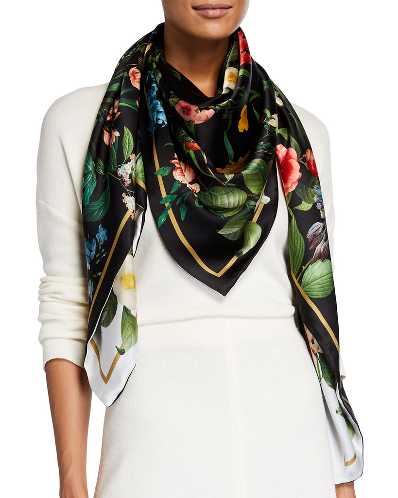 """Laura"" Large Square Silk Double-Sided Scarf"