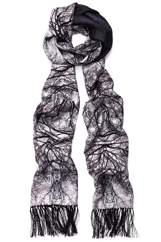 """Hamadryad"" Long Silk Twill & Cashmere Double Sided Scarf with Tassel"