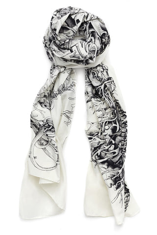 """St. Piece"" Long Silk & Cotton Scarf"