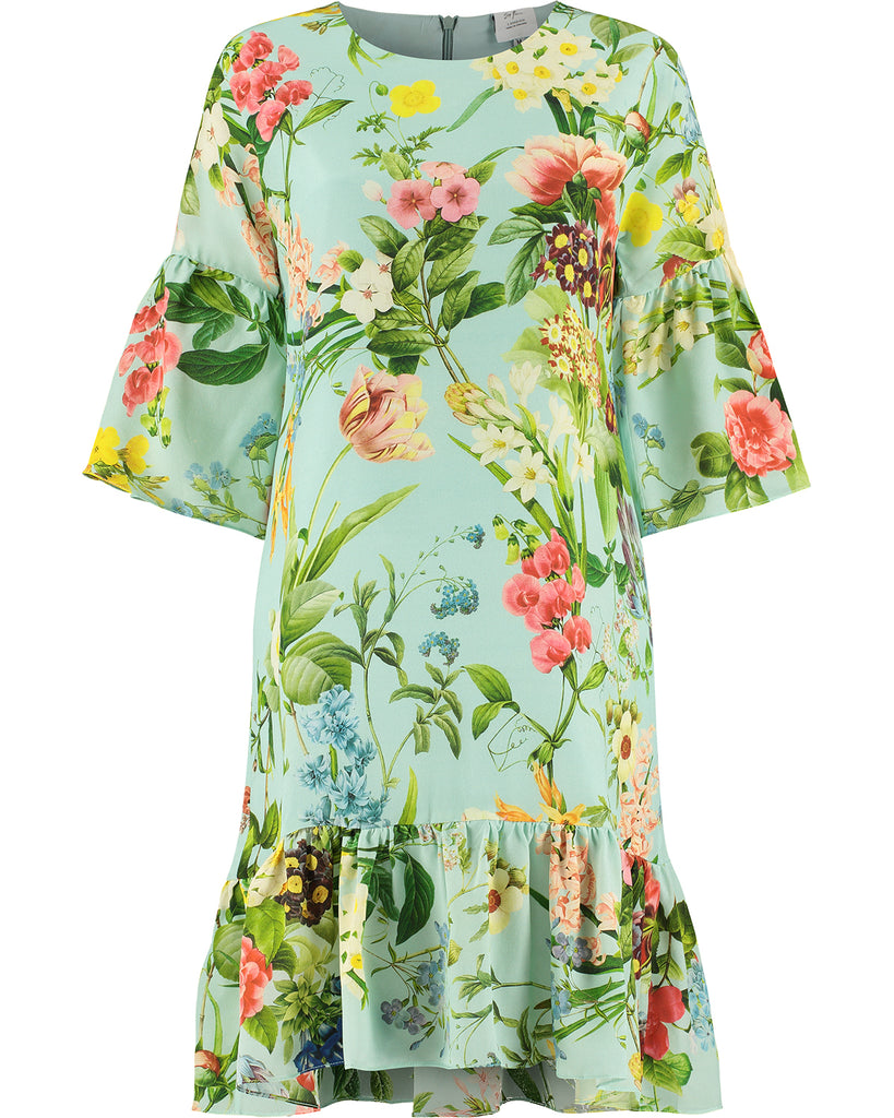 Silk Crepe de Chine Dress 'Laura Mint'