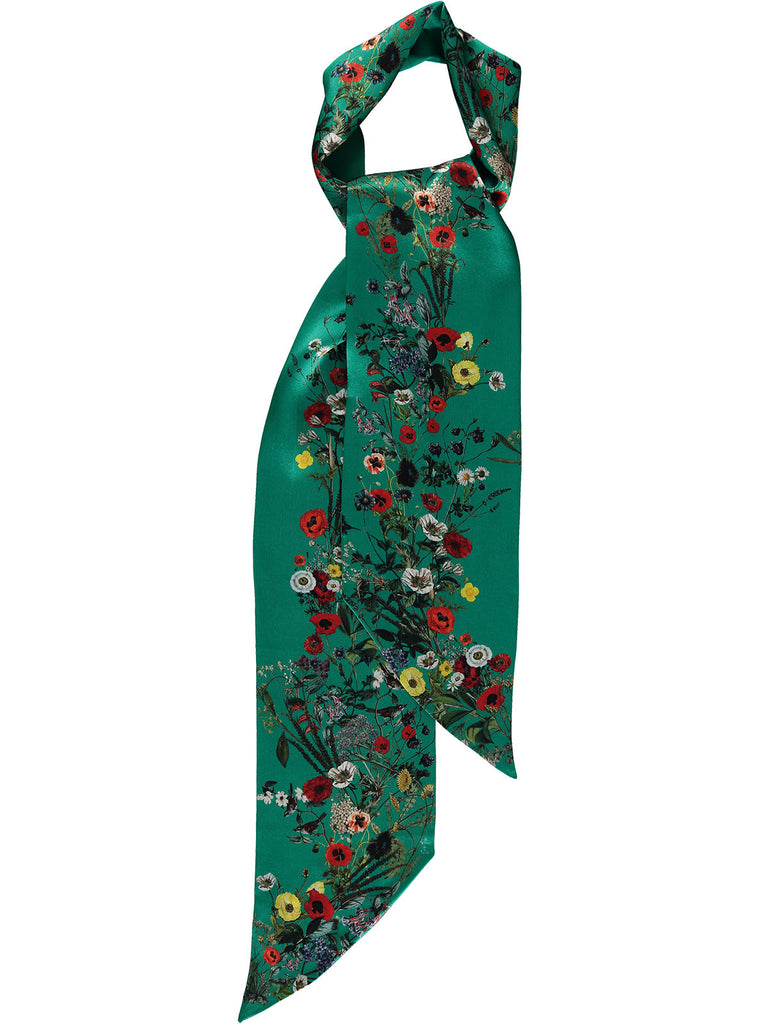 """Jackie Green"" Long Silk Scarf"