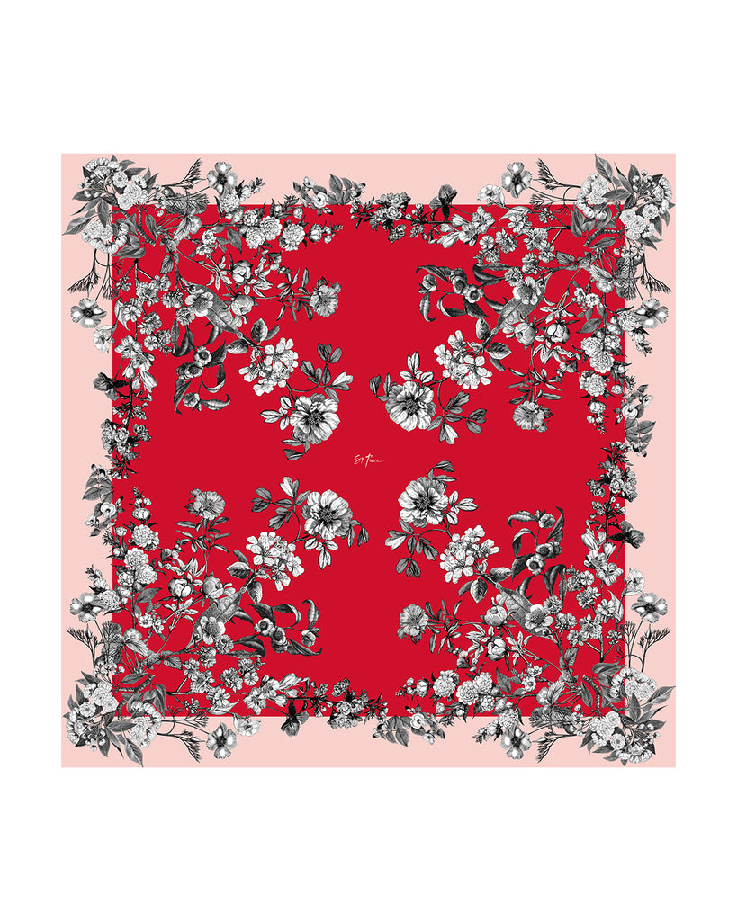"""Mia Red"" Medium Square Silk Scarf"