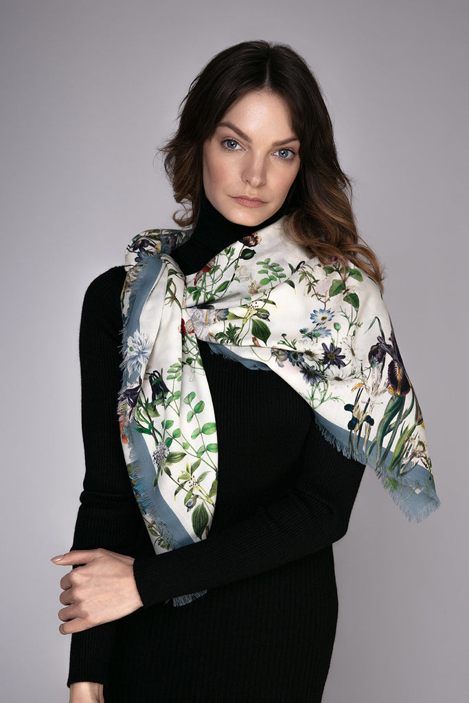"""MARGARET WHITE"" Large Square Wool & Cashmere Scarf"