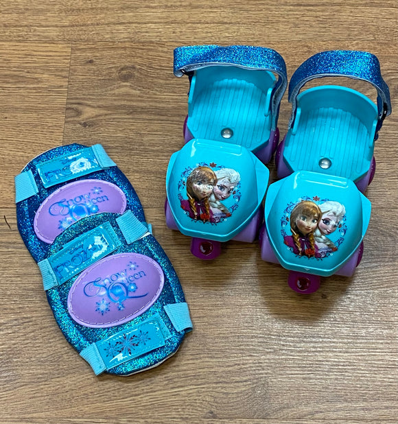 Disney Frozen Anna and Elsa Roller Skates with Knee Pads