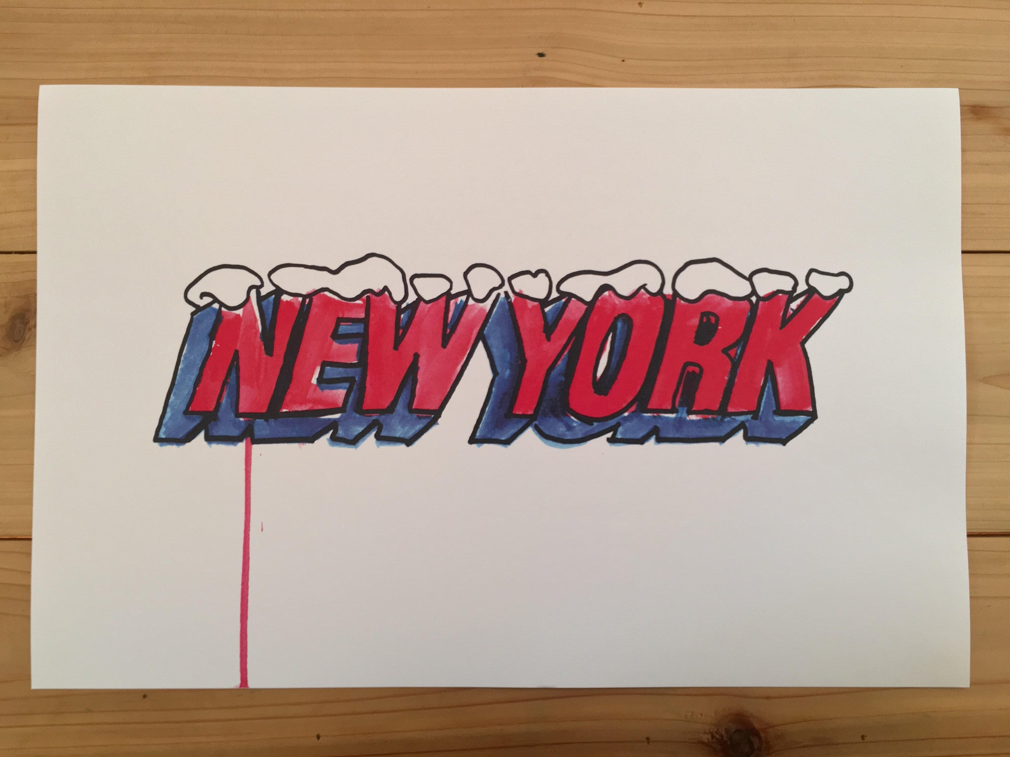 New York icy caps 11x17 poster