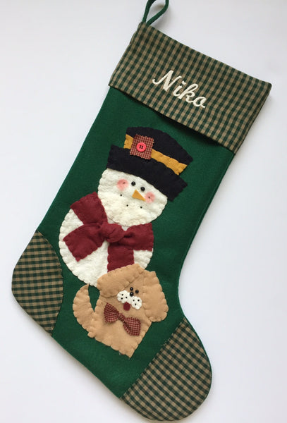 Dog Christmas Stocking- Snowman with Dog