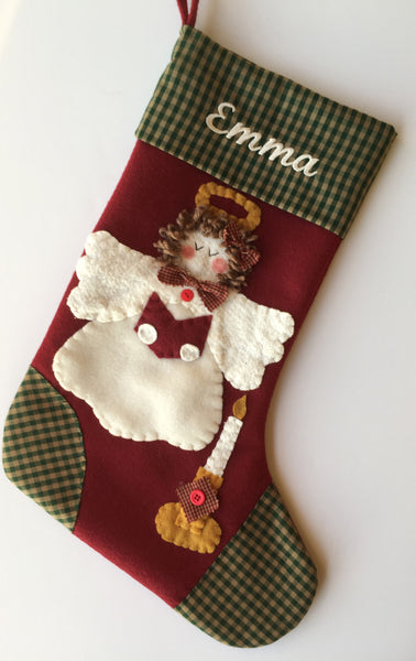 Angel Christmas Stocking- Candlelight Angel