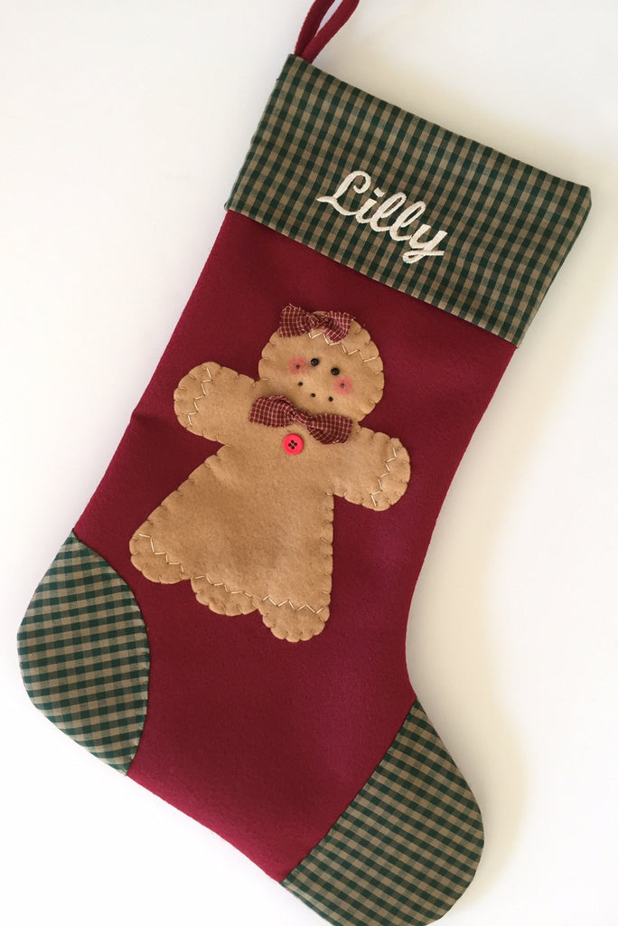Christmas Stocking- Gingerbread Girl Christmas Stocking ...