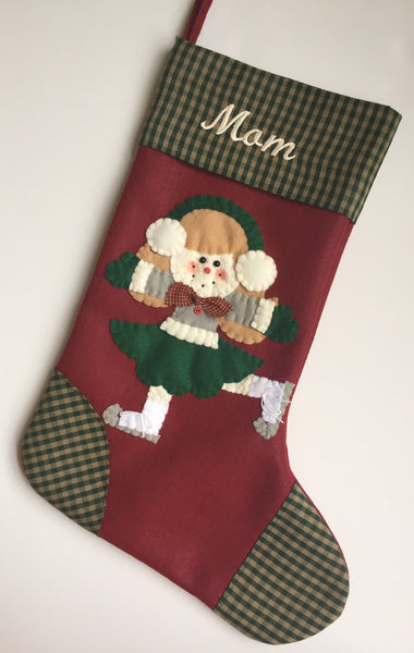 Ice Skater Christmas Stocking