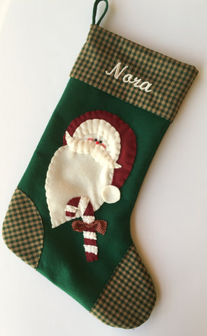 Santa Christmas Stocking with Candy Cane