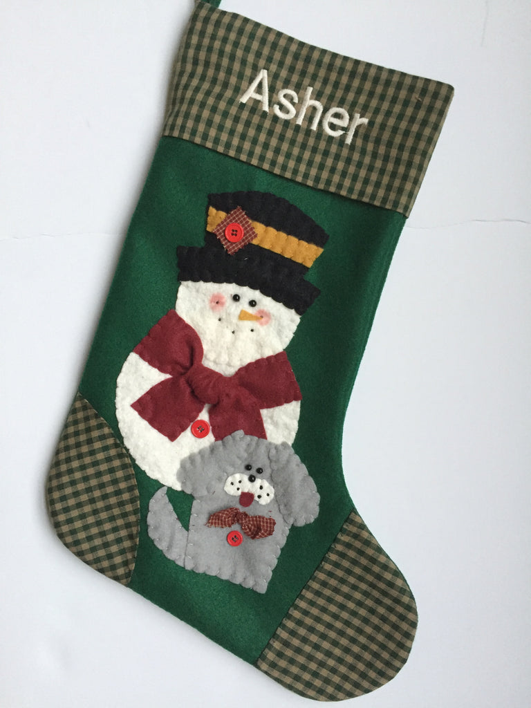 Dog Christmas Stocking.Dog Christmas Stocking Snowman With Dog