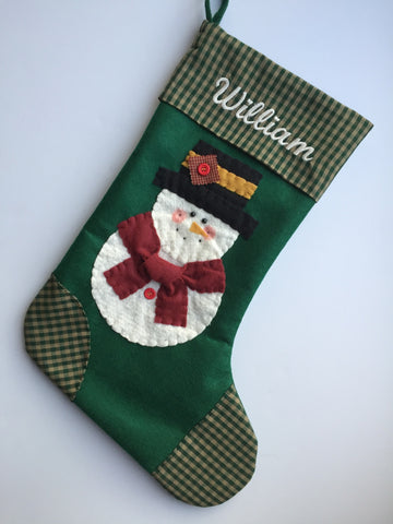 Handmade Christmas Stocking-Blitzy the Snowman