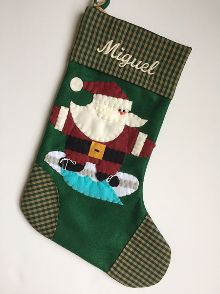 Surfing Santa- Christmas Stocking