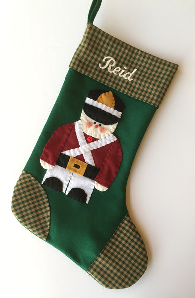 Peace on Earth- Toy Soldier Christmas Stocking
