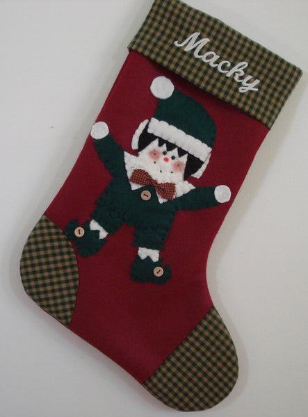 Boy Elf Christmas Stocking
