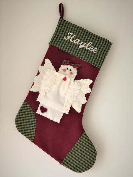 Angel Christmas Stocking- Country Angel