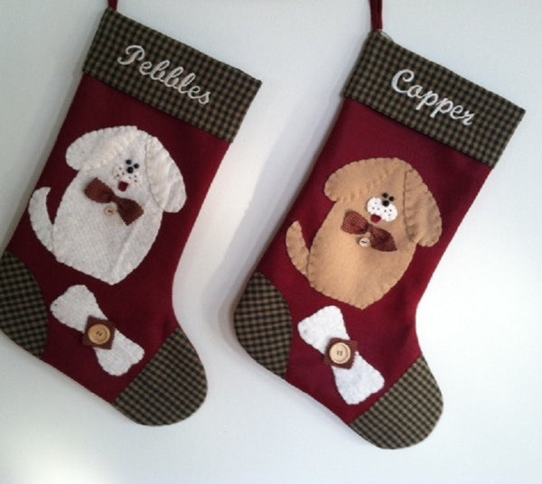 White Dog Christmas Stocking and  Tan Dog Christmas Stocking