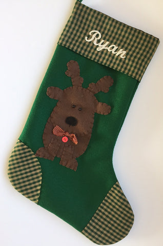 Reindeer Christmas Stocking- Dasher the Reindeer