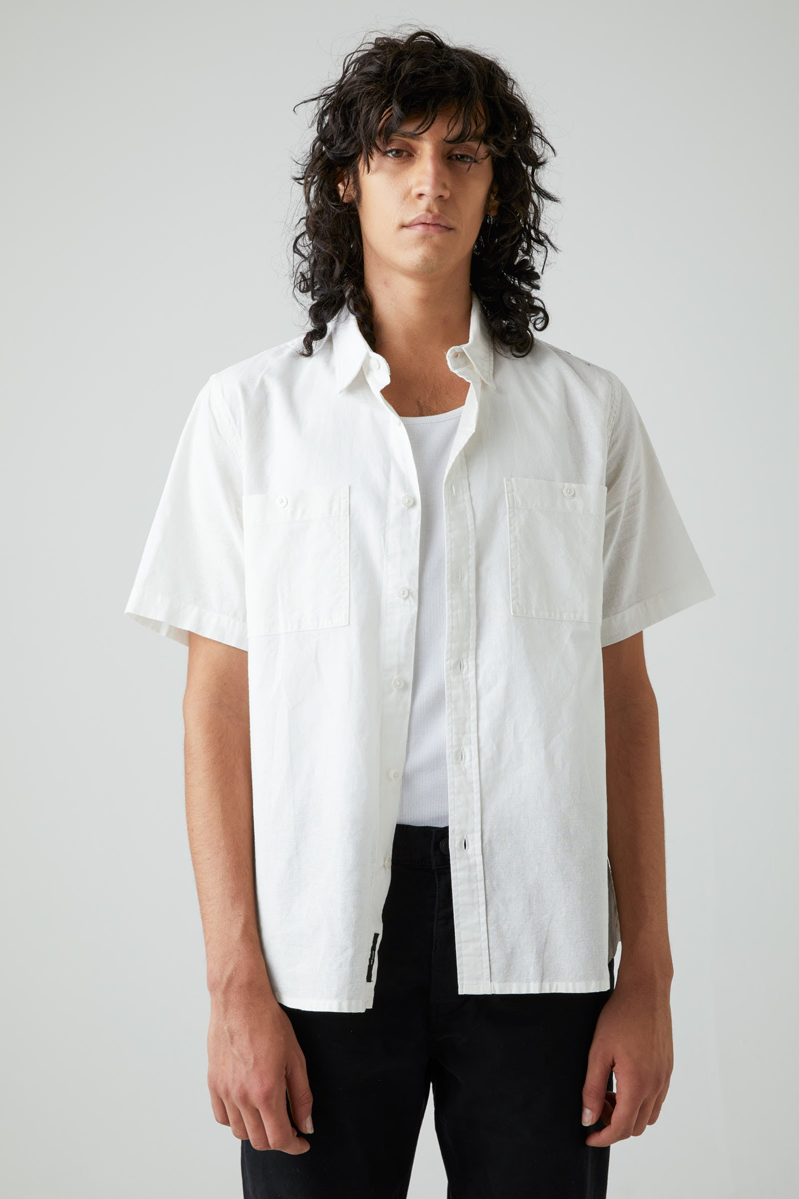 Waits Linen Ss Shirt Off White