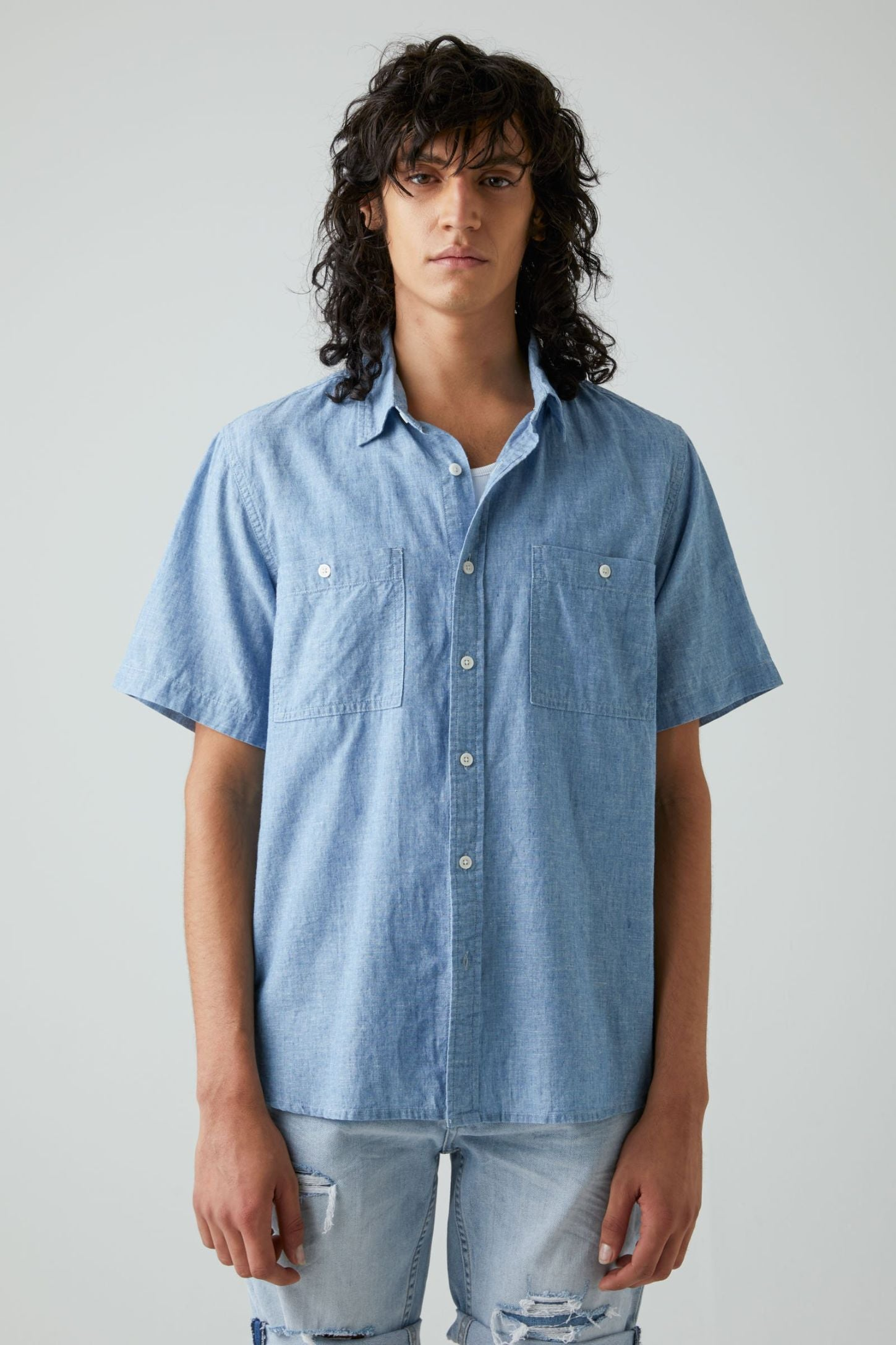 Waits Ss Shirt - Chambray