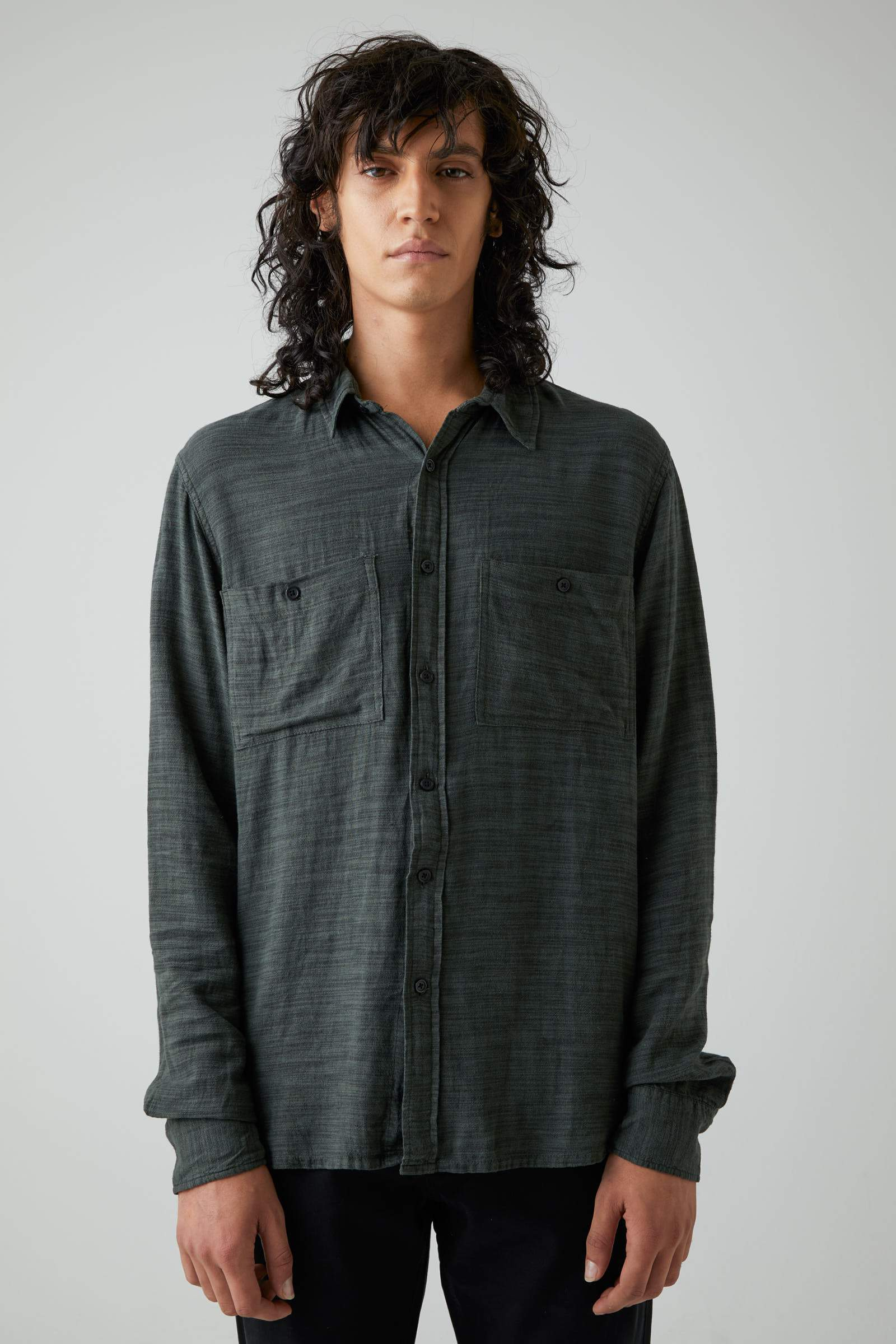 Waits Linen Ls Shirt - Dark Military