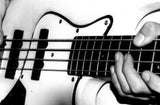 bass guitar black and white
