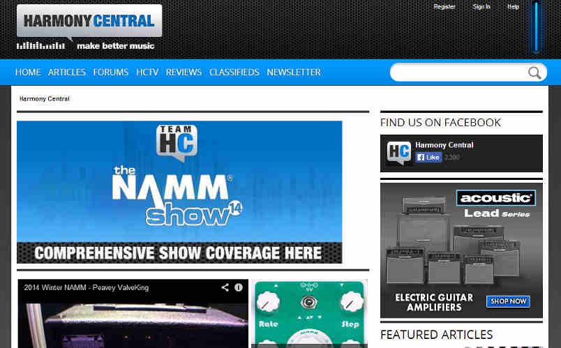homepage of harmony central