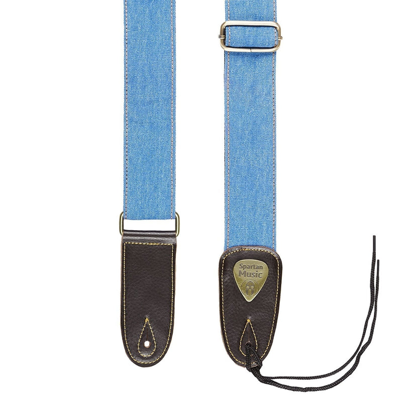 Blue Cotton & Leather Guitar Strap