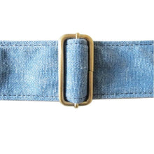 Load image into Gallery viewer, Blue Cotton & Leather Guitar Strap
