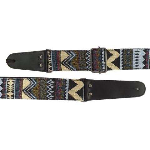 Leather & Cotton Woven Patterned Guitar Strap - Zig Zags