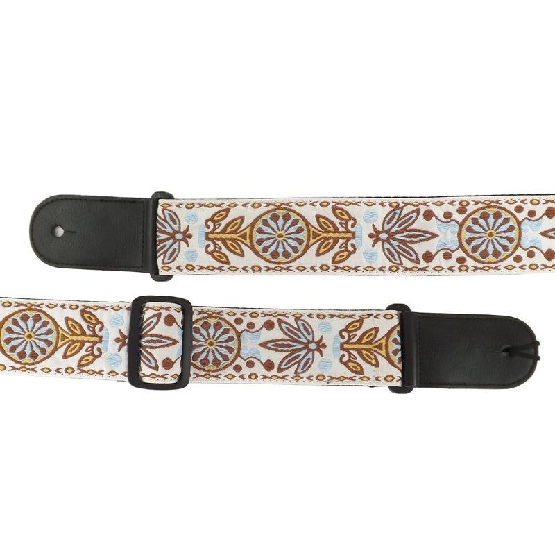 Leather & Cotton Woven Patterned Guitar Strap - White Tribal