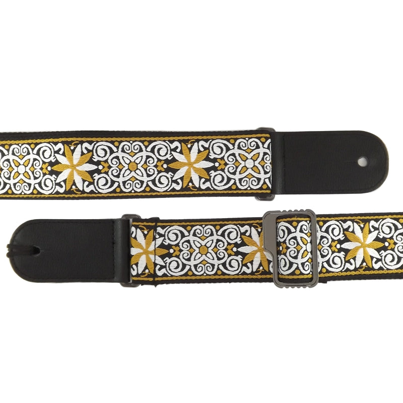 Leather & Cotton Woven Patterned Guitar Strap - Black Flower Swirl