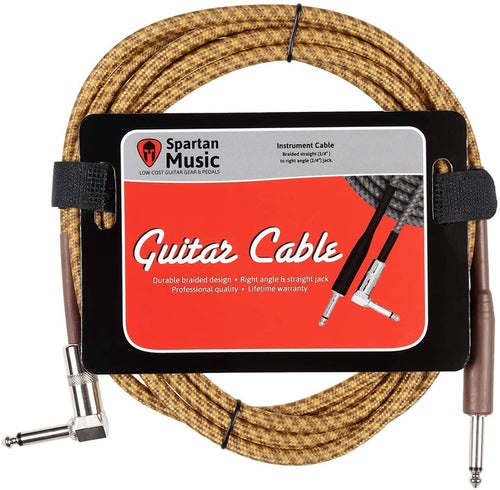 Accessory - 3m Right Angle Braided Vintage Guitar Lead Cable