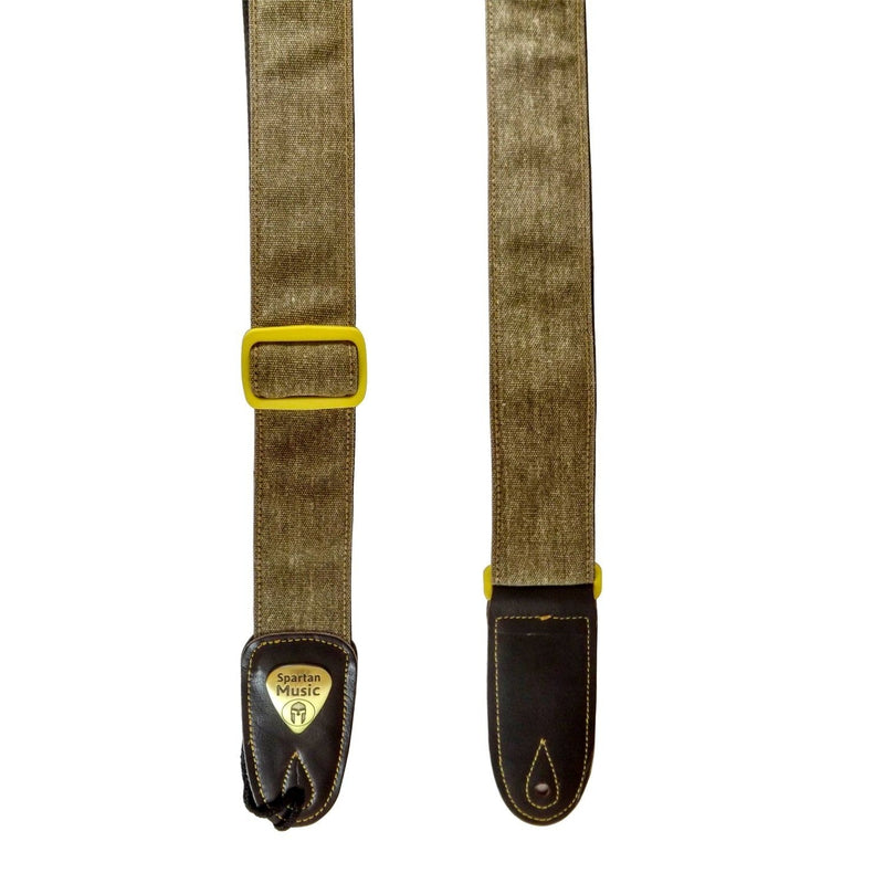 Accessory - Brown / Tan Cotton & Leather Guitar Strap