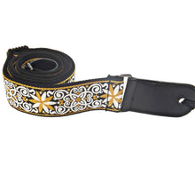Load image into Gallery viewer, Leather & Cotton Woven Patterned Guitar Strap - Black Flower Swirl