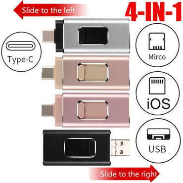 TYPE C USB Flash Drive For iPhone /Andriod Phone Usb Memory Stick With Lighning & TYPE C & USB Pendrive For iPhone 6 7 8 X XS XR