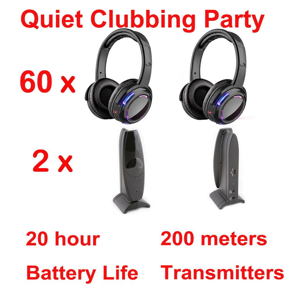 Silent Disco compete system black led wireless headphones - Quiet Clubbing Party Bundle (60 Headphones + 2 Transmitters)