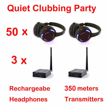 Silent Disco led wireless headphones -(50 Headphones + 3 Transmitters)