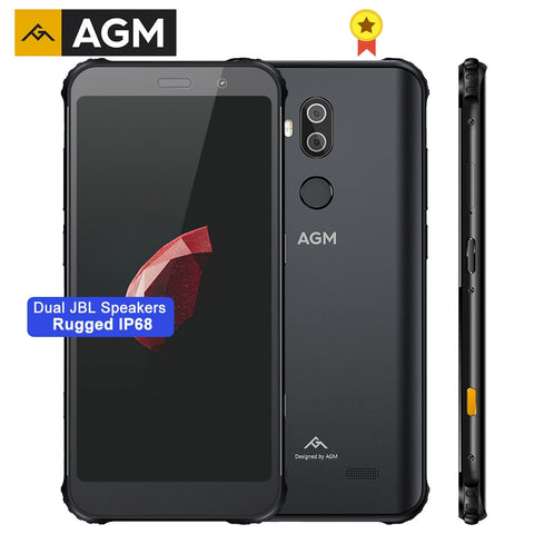 AGM X3 Rugged Mobile Phone 8G+256G MIL-STD SDM845 Octa Core Android 8.1 Dual BOX Speaker 5.99'' 24MP Camera QC3.0 NFC Phone