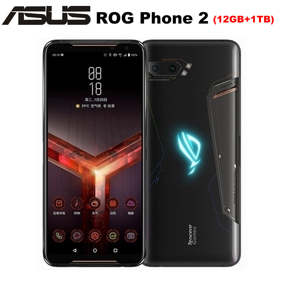 "NEW Asus ROG Phone II ZS660KL Mobile Phone 6.59"" 12GB ROM 1TB RAM Snapdragon855+ Dual SIM 6000mAh 48MP NFC Android9.0 ROG Phone2"