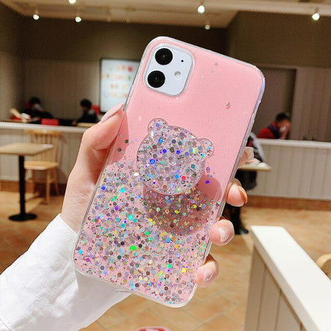 Bling Glitter Case For iPhone 11 Pro Max 11 Pro 11 XS XR X XS Max 6s 6 7 8 PlusSlim Case With Stand Holder Phone Cases Socket