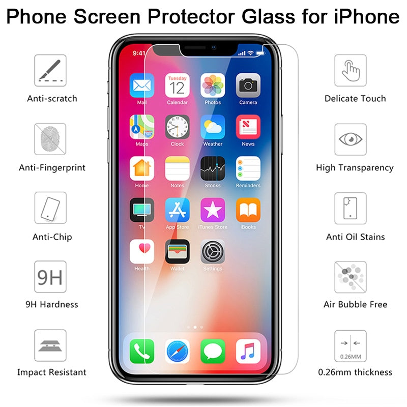 2 pcs! Screen Protector on the for iPhone X XR XS 11 Pro Max Protective Tempered Glass for iPhone 7 8 6 6S Plus 5 5S SE 4 4S