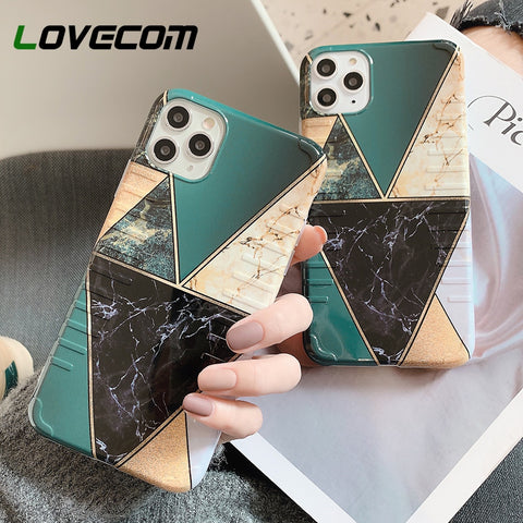 Geometric Splice Marble Phone Case For iPhone 11 Pro Max XR X XS Max 7 8 6 Plus Case Soft IMD Skidproof Texture Phone Back Cover