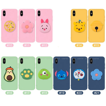 2 in 1 3D Cartoon Back Fold Finger Grip Mobile Phone Holder For iPhone 11 Pro MAX Phone Protective Case For iPhone 6 6S 7 8 Plus