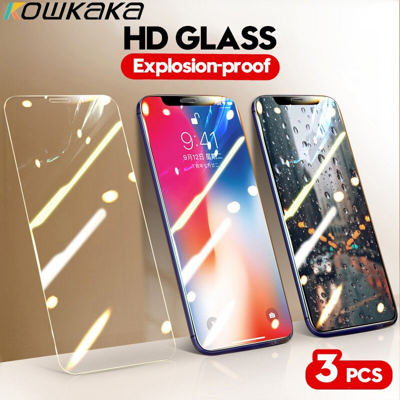 Kowkaka Full Practical Cover HD Tempered Glass On For iPhone 11 Pro Max XS X XR 7 8 6 6s Plus 5 5S SE Premium Screen Protector