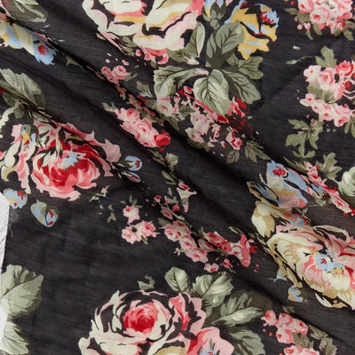 cabbage rose floral print silk cotton blend